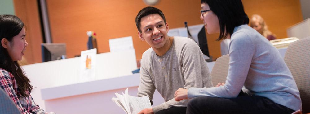 Undergraduate Students talking on campus